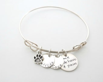 Personalized Paw Bracelet - Mom to Dogs - Kids with Four Paws - Mom to Cats - Personalized Jewelry - Dog Name - Cat Name - Dog Trainer