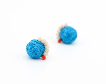 Braided Stud Earrings with Beads - Hand Sewn Earrings - Colorful Beaded Stud Earrings by Ashdel