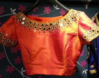 Designer boatneck blouse with beautiful mirror work