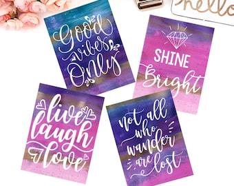 Inspire quote cards -  Set Of 4 Journaling cards, Ephemera, Card stock pieces, Scrapbooking, Planner, Erin Condren, Happy Planner, TN