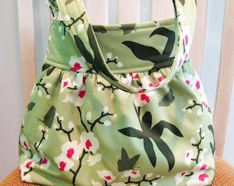 Gathered  Fabric Bag in Joel Dewberry Ginseng Celery Green