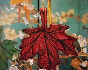 Red leaf ornament