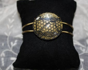 Adjustable brass Cuff Bracelet. Antique French lace overlay. Hand made