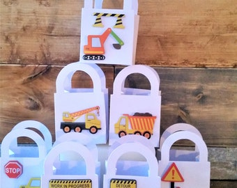 7 Construction/truck party favour boxes - birthday boy party favours - kid's party truck favours - bulldozer/dump truck boxes - boys party