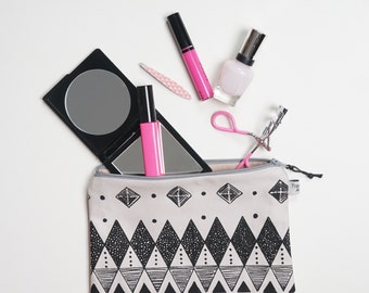 Geometric Zipper Pouch, Travel organiser, Cosmetic bag