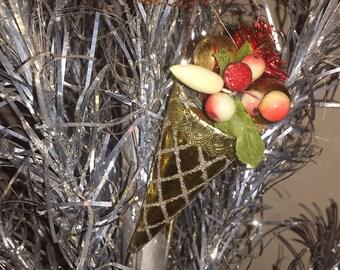 Vintage Christmas  Foil Ornament, Cornucopia filled with  Miniature Fruit