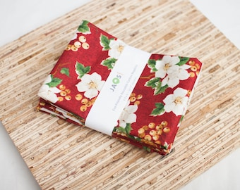 Large Cloth Napkins - Set of 4 - (N5032) - Red Floral Metallic Print Accents Modern Reusable Fabric Napkins