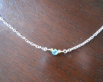 Blue Stone Briolette and Yellow Tourmaline Necklace