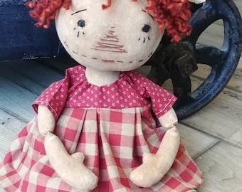 Primitive Raggedy Ann Doll ~ Folk Art ~ Handmade ~ Annie ~ Prim Doll