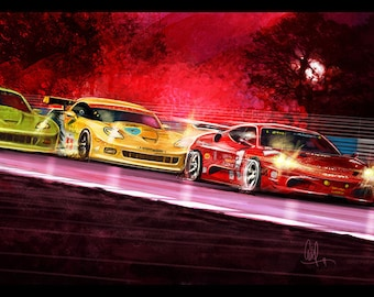 Automotive Art Red Ferrari and Yellow Corvette 8x12 Metallic Print