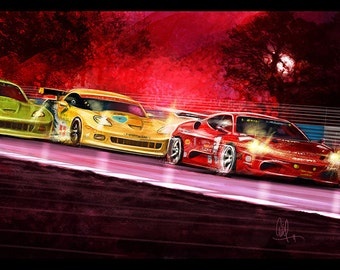 Automotive Art Red Ferrari and Yellow Corvette 12x18 Metallic Print
