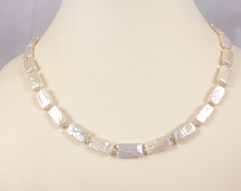 Classy rectangle freshwater pearl necklace with sterling silver beads and clasp