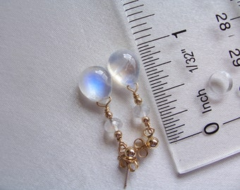 Rainbow Moonstone briolette 14k Solid Gold 10.5mm earrings 1 3/8 inches June birthstone gemstone MLMR  item 637xg