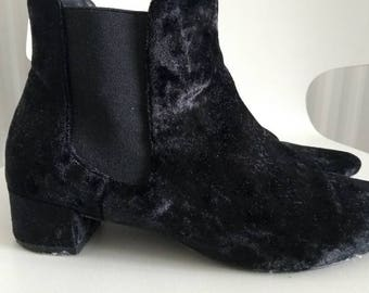 Shoe Sale! Black velvet ankle boots size 4
