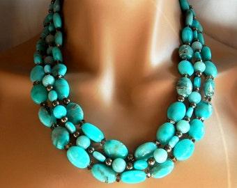 Multi Strand Gemstone Statement Necklace Rare Blue Aragonite Pyrite Amazonite Gift for Her
