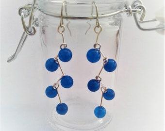 Blue aventurine zigzag dangle Earrings