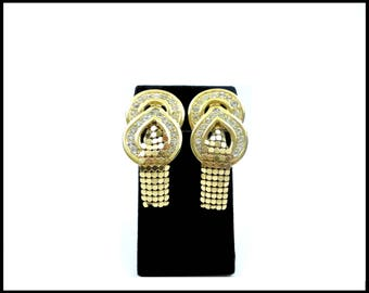 Long Rhinestone and Gold Mesh Earrings, Whiting & Davis Style, Gold Shoulder Dusters, Pageant Earrings, Stage Performance, Gift For Her