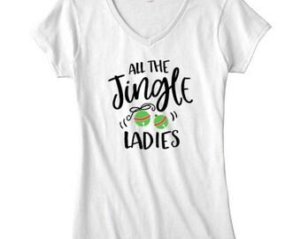 All the Jingle Ladies V-Neck T-Shirt
