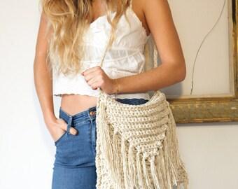 Bags & purses, ecru crochet fringed shoulder bag, natural linen cotton fringed bag, boho chic bag, beige fringe bag, fringes, boho style bag