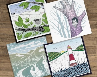 Nature 4 set pack - blank greetings cards - Imaginary Downland, Spring Wren, Woodland Owl & Stripey Lighthouse, English landscape pictures