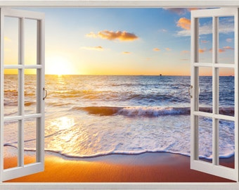 Sunset at the beach wall sticker window, sea wall decal for home decor, reflection wall art for nursery children kids home decoration [035]