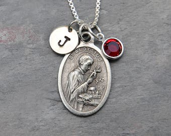 Saint St Aloysius Gonzaga Necklace -Personalized Initial Charm, Swarovski Crystal Birthstone or Pearl -Saint of Jesuits, Youth, AIDS Workers