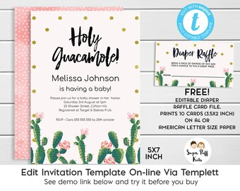 Cactus Baby Shower Invitation, Fiesta cactus Themed Baby Shower Invitation, Fiesta Baby Shower Invitation, Baby Shower Invitation, Templett