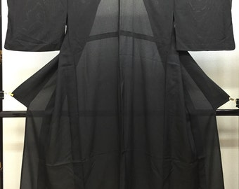 """Black formal Ro Kimono with five family crests """" oak leaf and ivy arabesque """" for mid summer  no.10"""