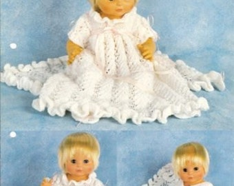 baby doll knitting pattern / christening set. dress cardigan pants shawl dk 10/12