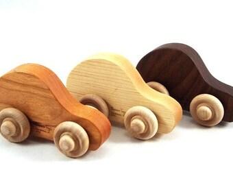 Organic Jalopy Toy Car Set, 3 Wood Toy Cars, Fun Childrens Wood Toy