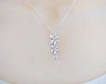 Orchid Necklace, Delicate Necklace, Dainty Necklace, Minimal Necklace, Bride Necklace, Pendant Necklace, Bridal Jewelry, Wedding Necklace,