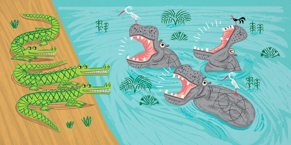Crocodiles and Hippos - Nature / Wildlife - Childrens Art - Animal Art -  Kids Art - Limited Edition Art Poster Print by Oliver Lake