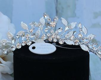 Mini Tiara, Headpiece, or Hair Comb in Silver with Swarovski Crystals