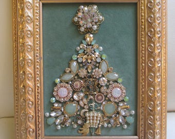 Jeweled Framed Jewelry Art Christmas Tree Pale Green Gold Art Deco