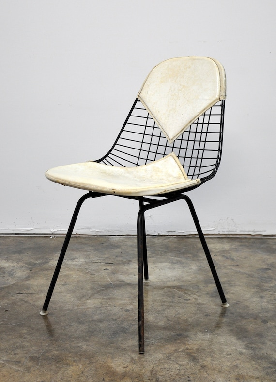 Items Similar To 1950s Eames Herman Miller Bikini Wire Chair Mid Century  Modern H Base Shell Vintage Retro Atomic Age Cream Off White With Original  Label On ...