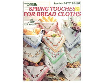 Bread Cloths for Spring Cross Stitch, Cross Stitch Pamphlet, Spring Cross Stitch Pattern, Floral Bread Cloths, by NewYorkTreasures Etsy
