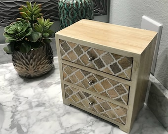 Rustic Jewelry Dresser Drawer Hand Painted Wooden Box, Recycled Wood, Accessory Storage Bin Home Decorative Cabinet, Item #579954578