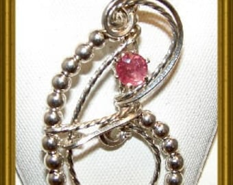 Sterling Silver Round Pink Sapphire Pendant