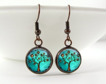 Tree of Life Earrings - Turquoise Blue Vintage Aged Copper Spiritual Summer Dangle or Drop Earrings