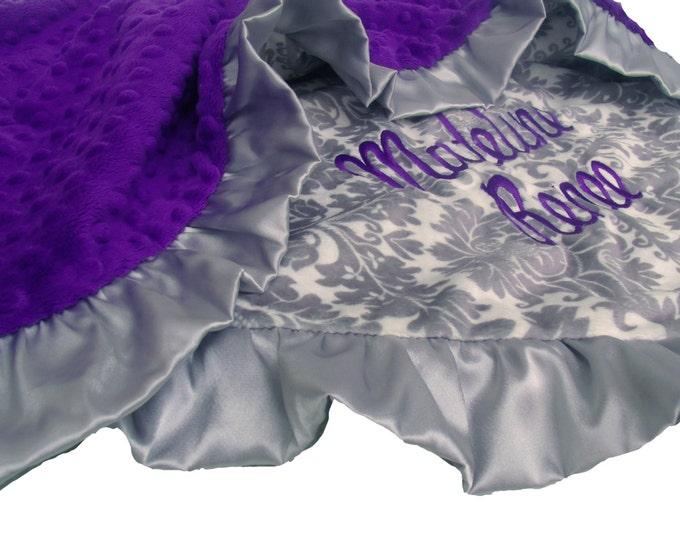 Deep Purple and Gray  Damask Minky Dot Baby Blanket