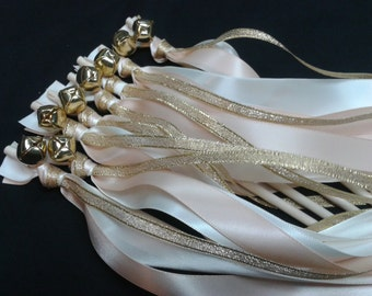 125 Triple wedding wands as shown on the picture Metallic gold, Blush & Ivory with Gold bells