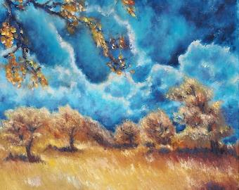 Original Oil Painting on canvas landscape field skyscape