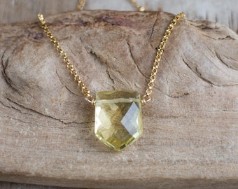 Geometric Crystal Necklace in Silver or Gold, Lemon Quartz Necklace, Gemstone Jewelry, Yellow Quartz Necklace, Pentagon Pendant