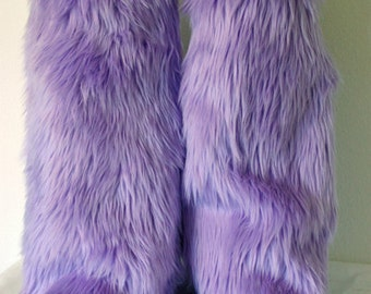 Lilac Light Purple Monster Leg Warmers / Fluffies / Boot Covers - Cosplay / Furry / Animal / Rave