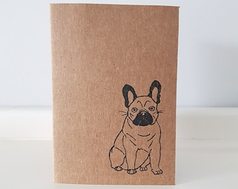 Frenchie Greeting Card Set: Mini French Bulldog Kraft Note Cards & Envelopes. Choose from 1 or 5 cards.