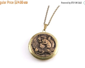 25%OFFSALE Squirrel Locket Pendant Necklace, Large Round Locket Necklace, Antiqued Brass Locket Pendant