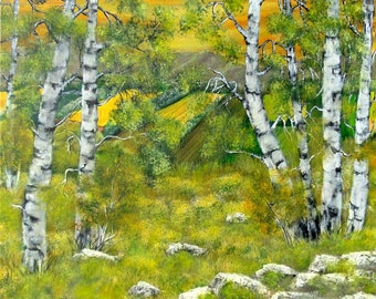 """Acrylic painting, landscape countryside and """"Birch trees 2"""" birch forest"""