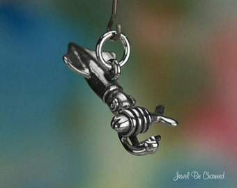 Sterling Silver Squid Charm Ocean Fish Seafood Squids 3D Solid .925