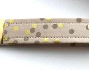 Ombré Sand Gold  Dots Key Chain Wristlet Key Fob Gold Colored Hardware Unique Wristlet Key Fob Ombre Confetti Fabric