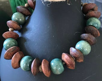 turquoise and brown wooden beaded bracelet.  Great with western wear.
